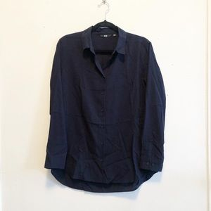 Lightweight button up blouse Navy Blue Uniqlo